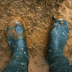 Two feet wearing rain boots standing in the mud